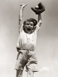 Excited Smiling Boy, Arms Raised Reproduction photographique par H. Armstrong Roberts