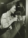 Woman Working With Electric Drill in Factory Photographic Print by George Marks
