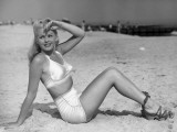 Young Woman in White Bikini on Beach Photographic Print by George Marks