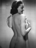 Naked Woman Drying Off With Towel Impressão fotográfica por George Marks