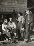 Two Couples Outside Ski Lodge Photographic Print by George Marks