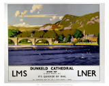 Dunkeld Cathedral, River Tay, LMS/LNER, c.1923-1947 Art by Norman Wilkinson