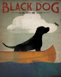 Black Dog Canoe Kunstdrucke von Ryan Fowler