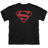 Youth: Superman-Red On Black Shield T-Shirt