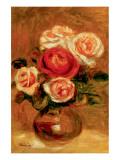 Roses in a Vase Premium Giclée-tryk af Pierre-Auguste Renoir