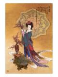 Lady with Plum Flowers Premium Giclee Print