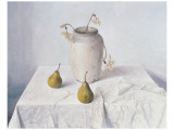 Dried Narcissi with Two Pears Premium Giclee Print by Arthur Easton