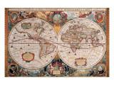 Antique Map, Geographica, Ca. 1630 Premium gicléedruk van Henricus Hondius