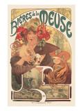 Bières De La Meuse Bières De La Meuse Exklusivt gicléetryck av Alphonse Mucha