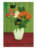 Vihreät kukat Premium-giclée-vedos tekijänä Henri Rousseau