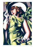 Ung flicka och grönt Exklusivt gicléetryck av Tamara de Lempicka
