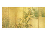 Japanese Autumn Grasses, Six-Fold Screen, Early Edo Period Premium Giclée-tryk