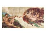 Skabelsen af Adam Premium Giclée-tryk af Michelangelo Buonarroti,