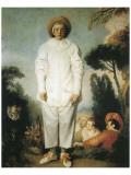 Pierrot, Gilles Premium Giclée-tryk af Jean Antoine Watteau