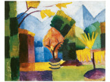 Garden on the Lake Premium Giclée-tryk af Auguste Macke