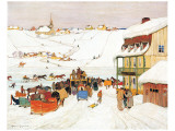 Horse Race in Winter Premium Giclée-tryk af Clarence Alphonse Gagnon