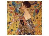 Kvinne med vifte Premium Giclee-trykk av Gustav Klimt