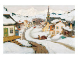Village in the Laurentians Premium Giclée-tryk af Clarence Alphonse Gagnon