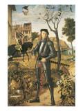 Young Knight In A Landscape: Francesco della Rovere Premium Giclée-tryk af Vittore Carpaccio
