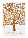 The Tree of Life Pastiche Marzipan Premium Giclée-tryk af Gustav Klimt