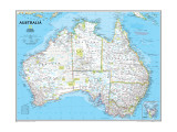Politische Landkarte von Australien Giclée-Premiumdruck von  National Geographic Maps