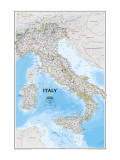 Kart over Italia Premium Giclee-trykk av  National Geographic Maps