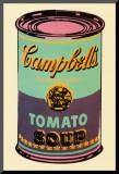 Campbell's, lata de sopa, 1965, verde e roxa Impressão montada por Andy Warhol
