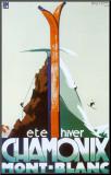 Verão, inverno, Chamonix, Mont-Blanc Impressão montada por Henry Reb