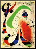 Night Mounted Print by Joan Miró