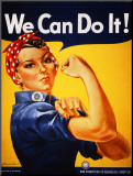We Can Do It! (Rosie the Riveter) Druck aufgezogen auf Holzplatte von J. Howard Miller