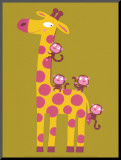 The Giraffe and the Monkeys Mounted Print by Nathalie Choux