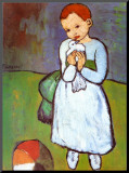 Child with a Dove, c.1901 Kunst op hout van Pablo Picasso