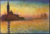 Zonsondergang in Venetië Kunst op hout van Claude Monet