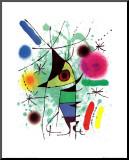 Der singende Fisch Druck aufgezogen auf Holzplatte von Joan Miró
