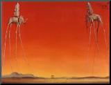 Os elefantes, cerca de 1948 Impressão montada por Salvador Dalí