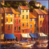 Portofino Waterfront Mounted Print by Michael O'Toole