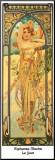 Le jour Affiche montée sur bois par Alphonse Mucha