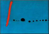 Blau II Druck aufgezogen auf Holzplatte von Joan Miró