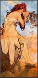 Eté Affiche montée sur bois par Alphonse Mucha