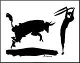 Stierkampf III Druck aufgezogen auf Holzplatte von Pablo Picasso