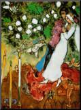 Die drei Kerzen Druck aufgezogen auf Holzplatte von Marc Chagall