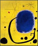Gold und Blau|El oro del azur Druck aufgezogen auf Holzplatte von Joan Miró