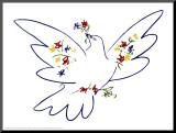 Friedenstaube Druck aufgezogen auf Holzplatte von Pablo Picasso