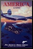 Reclameposter luchtvaartmaatschappij, Engelse tekst: America by Clipper Kunst op hout