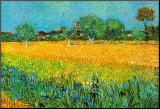 Zicht op Arles met irissen Kunst op hout van Vincent van Gogh