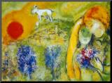 Amoureux de Vence Impressão montada por Marc Chagall