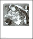 Reptiles Affiche montée sur bois par M. C. Escher