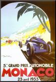 Monaco - 1933 Druck aufgezogen auf Holzplatte von Geo Ham