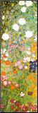 Blühender Garten mit Pfad (Detail) Druck aufgezogen auf Holzplatte von Gustav Klimt