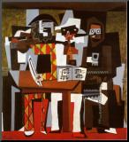 Trois musiciens Affiche montée sur bois par Pablo Picasso